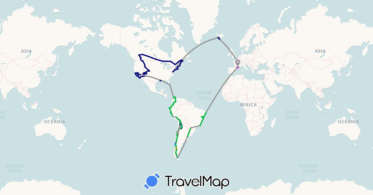 TravelMap itinerary: driving, bus, plane, cycling, train, hiking, boat, hitchhiking, motorbike in Argentina, Bolivia, Brazil, Canada, Chile, Colombia, Ecuador, France, Iceland, Peru, United States (Europe, North America, South America)